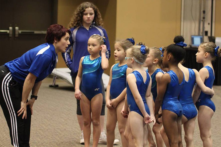 gymnastics coaches and children